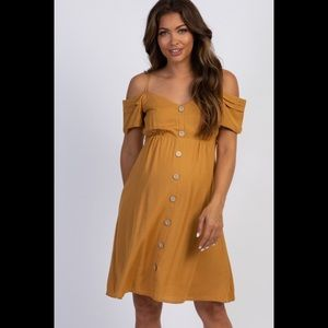 MUSTARD BUTTON ACCENT MATERNITY DRESS